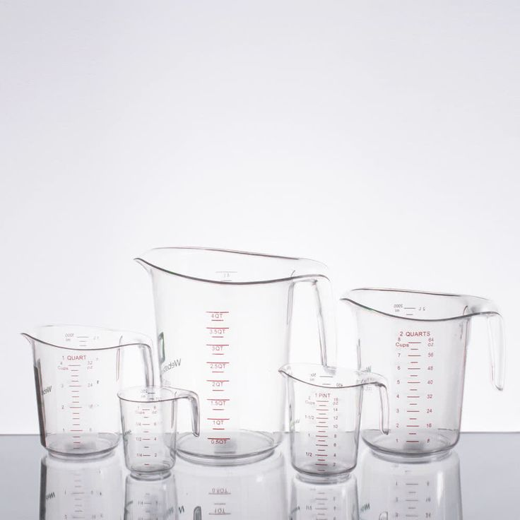 Expertly measure out ingredients with this WebstaurantStore logo 5-piece clear polycarbonate measuring cup set! Providing an immense amount of variety, this set includes 1 cup, 1 pint, and 1, 2, and 4 qt. measuring cups. Whether you need a precise amount of water, milk, or juice, each measuring cup is sure to do the trick. Not only does each one have embossed graduations in both Metric and Imperial units for universal use, the graduations are also featured on a translucent, matte finish that…