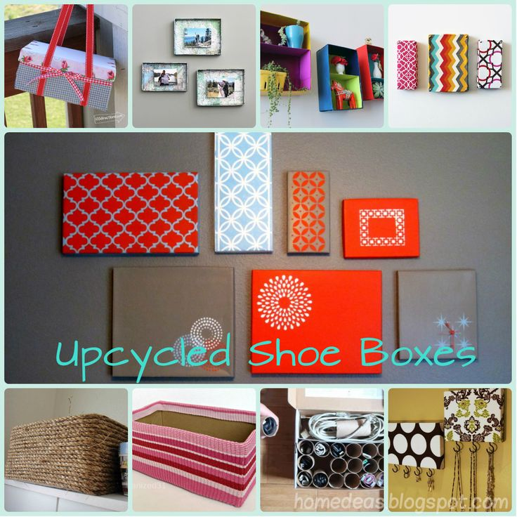 upcycled shoe boxes I love the painted tops for wall decor.