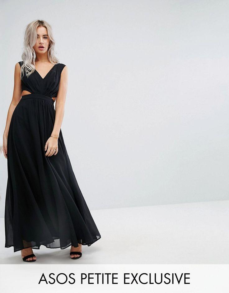 ASOS PETITE Side Cut Out Maxi Dress - Black