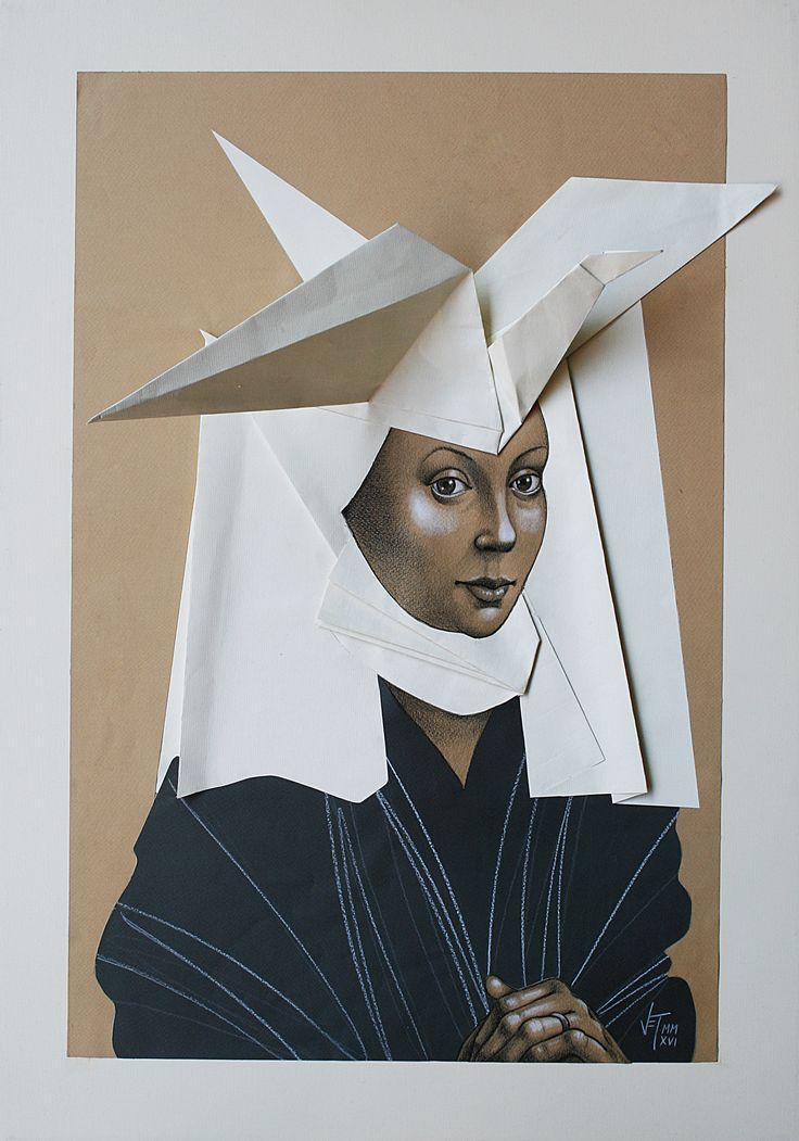 Vania Elelettra Tam - Origami Clitoridei - cigno - 2016 - 70x50 cm - tecnica mista su carta incollata su tela