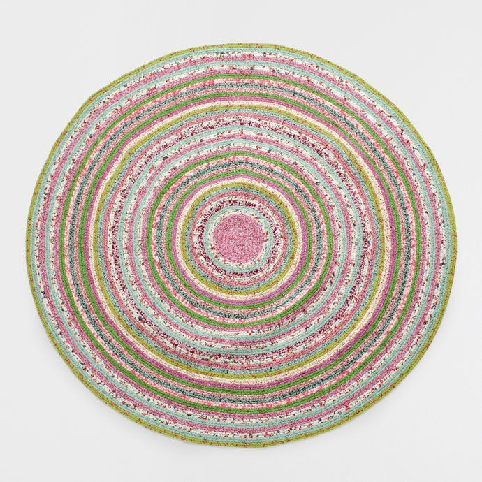 alfombra redonda de algod n con estampado de rayas casa