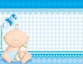 Plantilla Invitacion de Baby Shower bebe con biberon para niño