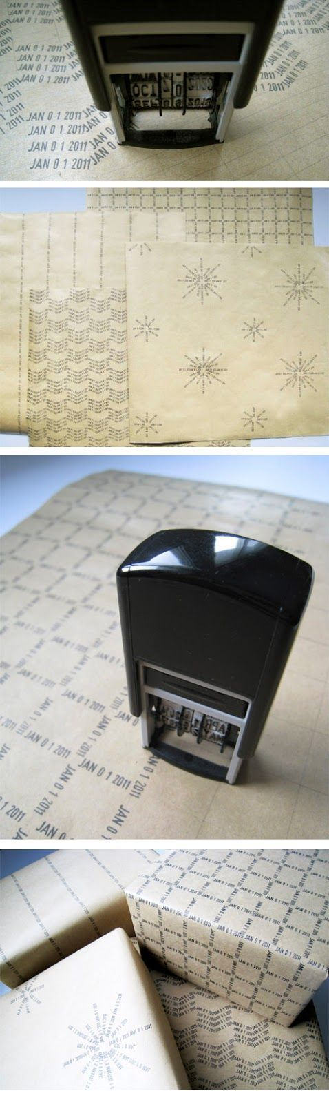 Fun DIY wrapping paper with a date stamper.