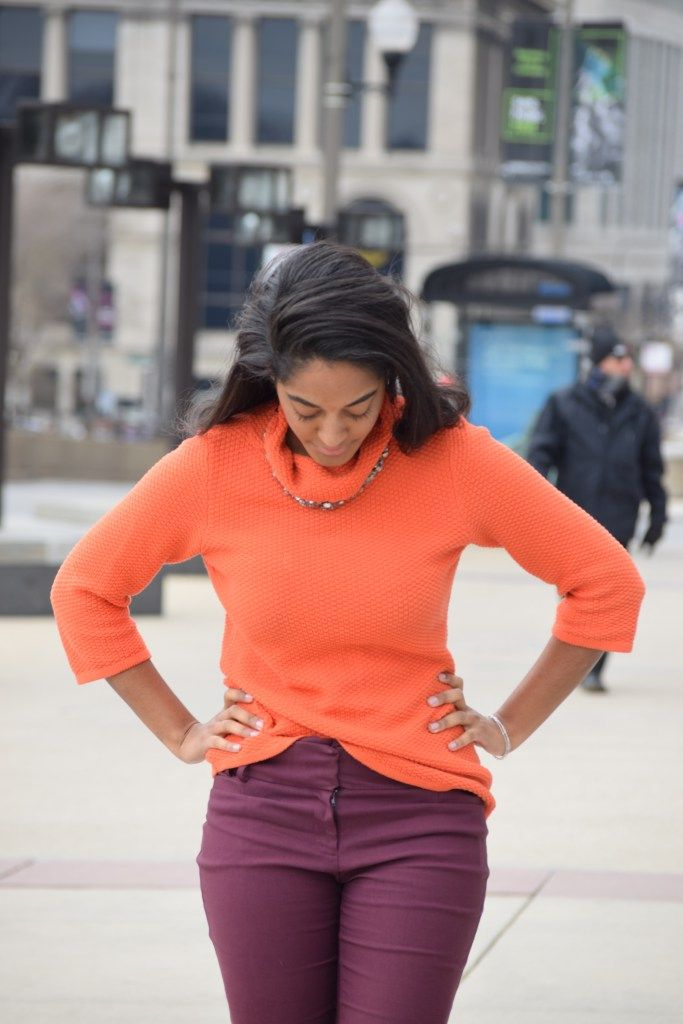 bold color combo, plum pants, orange sweater, best chicago style blogs, best style, chicago style, bold style, work wear