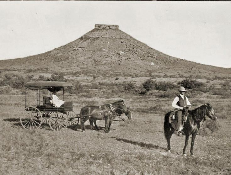SIGNAL PEAK, Howard County Texas - named from early tales of Comanche smoke signals which could be seen from Muchaque Peak in Borden County, 36 miles away. Early landmark for nearby Moss Spring, buffalo hunters camps, Texas Rangers camp, and first cattle ranches. Photo made near Moss Spring, dated 1889.