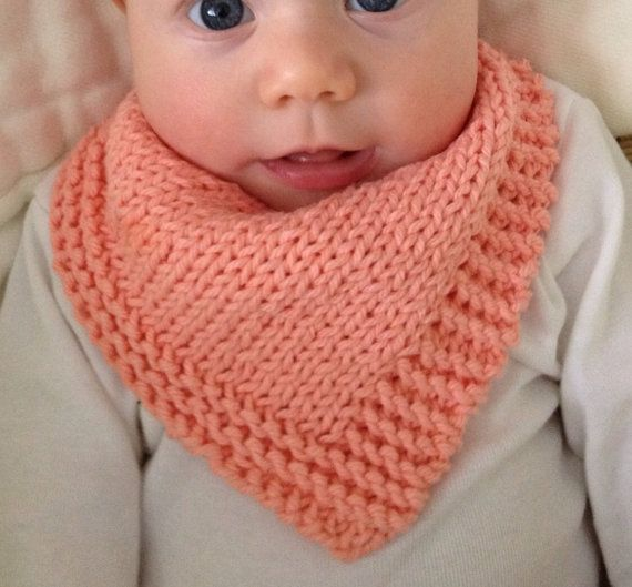 Infinity Scarf Free Knitting Patterns : Hand knit bandana dribble bib - solid - Bandanas, Handen en Gebreid