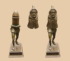 """Gallo-Roman bronze statuette of Priapus (or a Genius cucullatus?) discovered in Picardy, northern France, made in two parts, with the top section concealing a giant phallus.""""Abraxas is the God who …"""