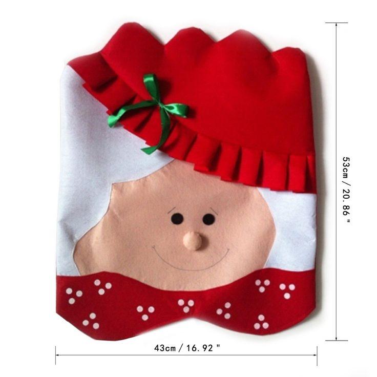 1 UNID Encantadora Mr & Mrs Santa Claus Navidad Comedor Silla cubierta de…