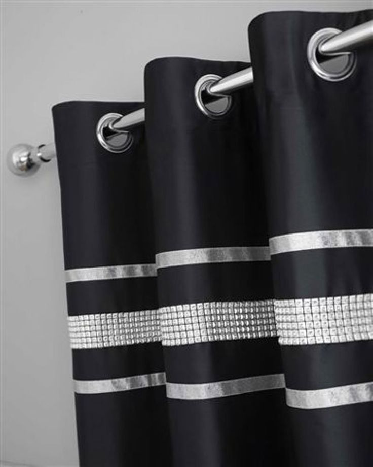 BLACK & SILVER DIAMANTE BLING BEDDING AND/OR CURTAINS AND ...