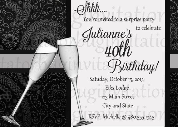 229 best Elegant invitations images – Personalized 40th Birthday Invitations