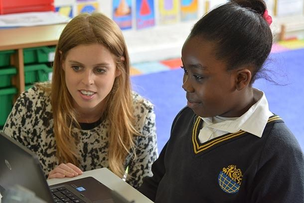 britishroyals:  Princess Beatrice told pupils of Bolingbroke Academy and the ARK Globe Academy in London that dyslexia should never hold them back while on a visit on April 24, 2014.