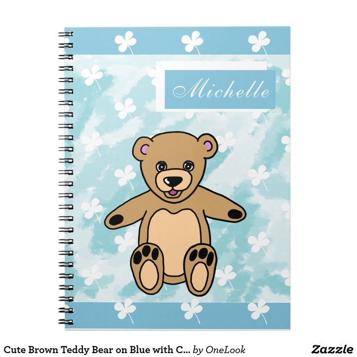 Cute Brown Teddy Bear on Blue with Clovers Name