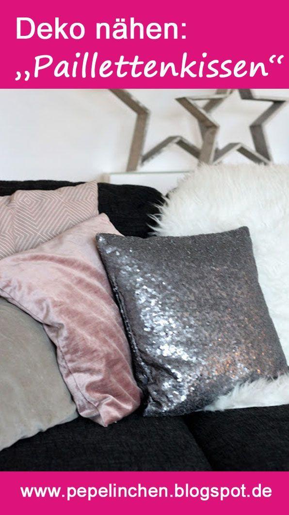 Wie Du mit einem Kissen aus Paillettenstoff Glanz in Dein weihnachtliches Wohnzimmer bringen kannst....