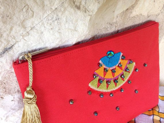 Handcrafted waterproof fabric coral red clutch with by ebroosbags