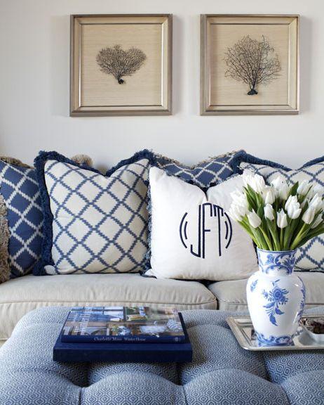 Blue & white & monogram