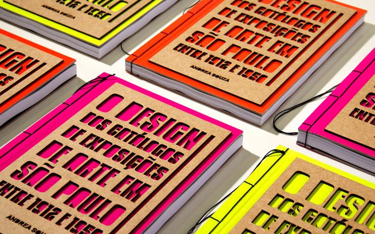 There is no doubt that neon is making a comeback, but this is no 1980s inspired book cover. With a great contrast between the chipboard, the burned edges, and the bright colors it all comes together beautifully with its unique binding. — BRYONY