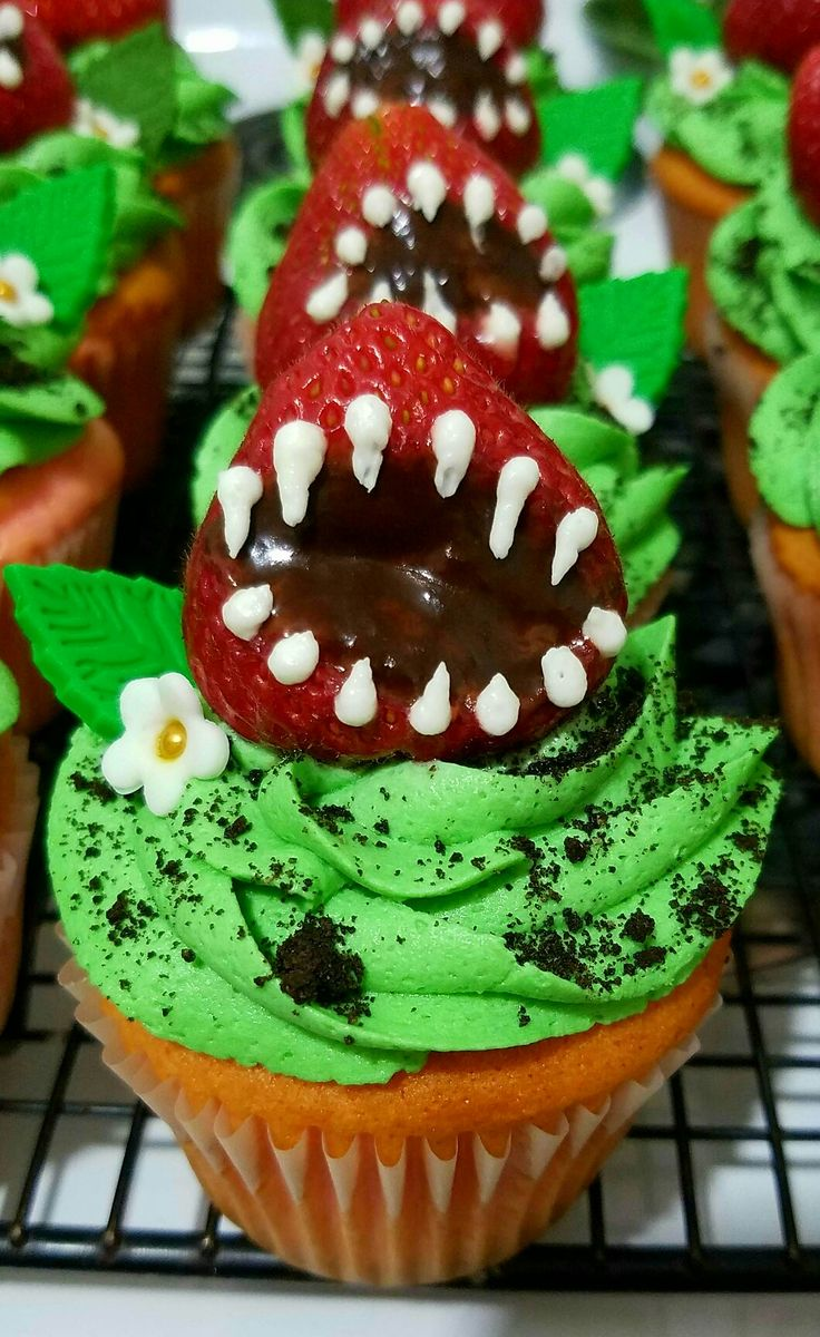 Strawberry Monster Cupcakes