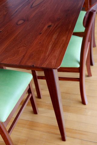 Oslo Solid Jarrah Dining Table Suite retro tapered leg detail