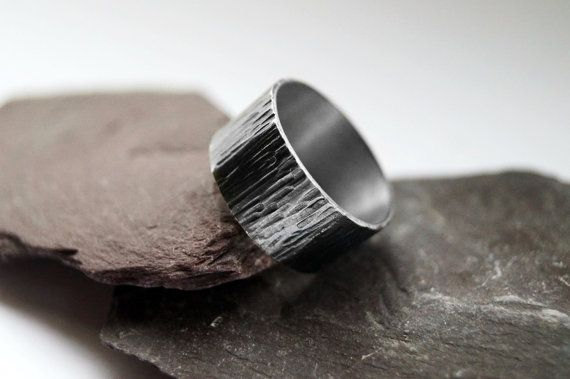 Wood Grain Wide Sterling Silver Ring stacking by CuriousOwlShop
