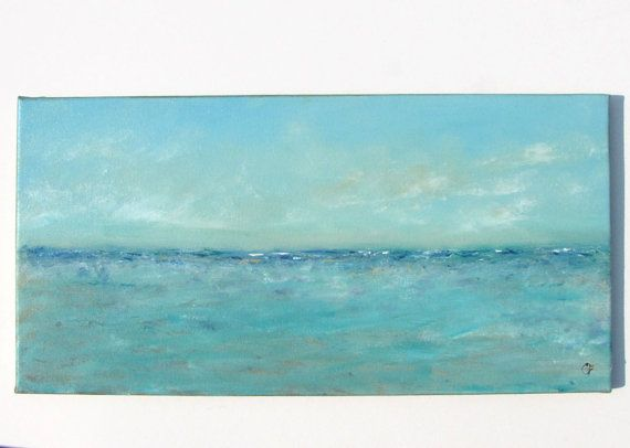 Beach painting abstract ocean oil painting by TheEscapeArtist