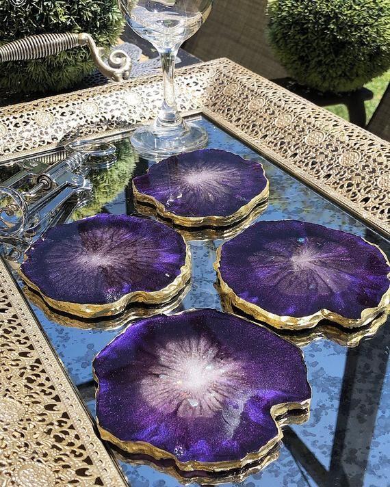 Amethyst Resin Agate Coasters / Set of 4 | Etsy | Diy resin art ...