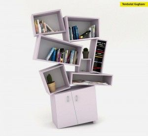 Unusual Bookcase In Chaotical Design   Tectonic Bookcase Design