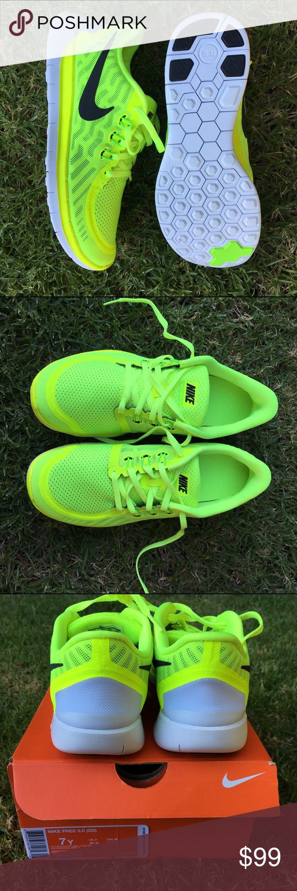 """NIKE ⚡️ """"FREE RUN 5.0"""" SZ 8 women 6.5 youth Volt ⚡ neon! best workout shoe ever! NEW NEVER USED """"Free run 5.0"""" size 6.5 youth (equivalent to a woman's size 8). No filters on any of the photos. Mix between neon green and neon yellow (pics are not filtered white background is indoors with natural light only and grass pics are outside taken in the shade. My foot modeling the shoe ) No box. Bundle items to save.  Nike Shoes Sneakers"""