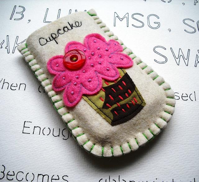 Little Cupcake Felt Gadget Sleeve by suezybees, via Flickr