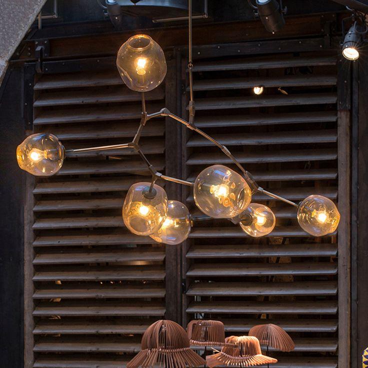 Branching Bubble Ceiling Lights Retro Loft  vintage molecular Crystal Glass Lindsey adelman Suspension ceiling Lamp fixtures