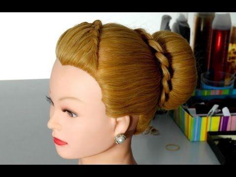▶ Прическа: Пучок с французской косой. Peinado para Pelo Largo - YouTube