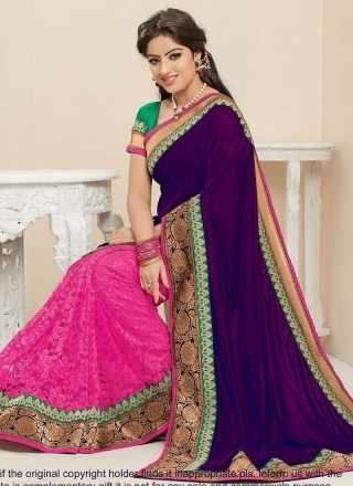 Purple With Pink Georgette Half N Half Bollywood Saree http://www.angelnx.com/