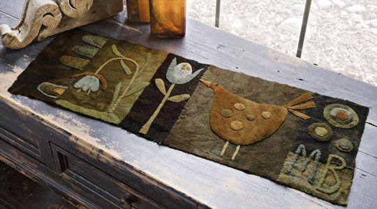 """Henny Penny"""" Wool  Table Runner  by Maggie Bonanomi    from American Patchwork & Quilting  December 2011 issue"""