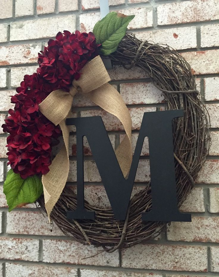 Personalized Hydrangea Grapevine Wreath - Monogram Wreath with Burlap Bow - Spring Wreath - Summer Wreath - Initial Wreath - Fall Wreath by CozyHomeWreaths on Etsy https://www.etsy.com/listing/242155041/personalized-hydrangea-grapevine-wreath