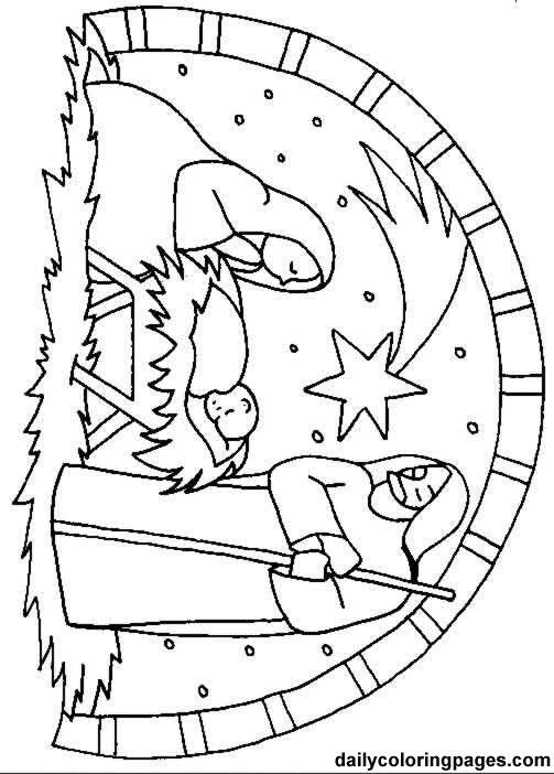 Nativity Scene Coloring Page Sheet