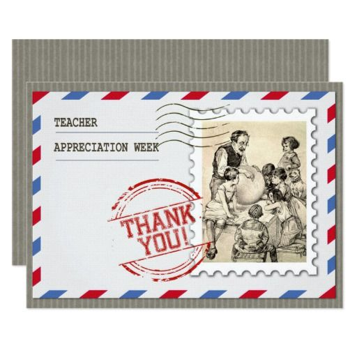 Happy Teacher Appreciation Week. Vintage Design Teacher Appreciation Week corporate or personal Customizable Flat Greeting Cards for Teachers with a vintage classroom scene image. Matching cards, postage stamps and other products available in the Business / Occupation Specific / Education, Childcare Category of the oldandclassic store at zazzle.com