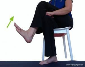 Move your foot up into Dorsiflexion to gently exercise your sprained ankle.