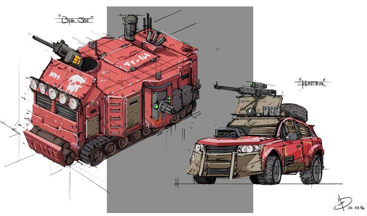 ArtStation - Wastelands Vehicles-Sketch, Ignacio Felechosa