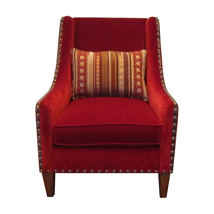 Furniture Madison Chenille And Leather Accent Chair   Accent Chairs At  Hayneedle