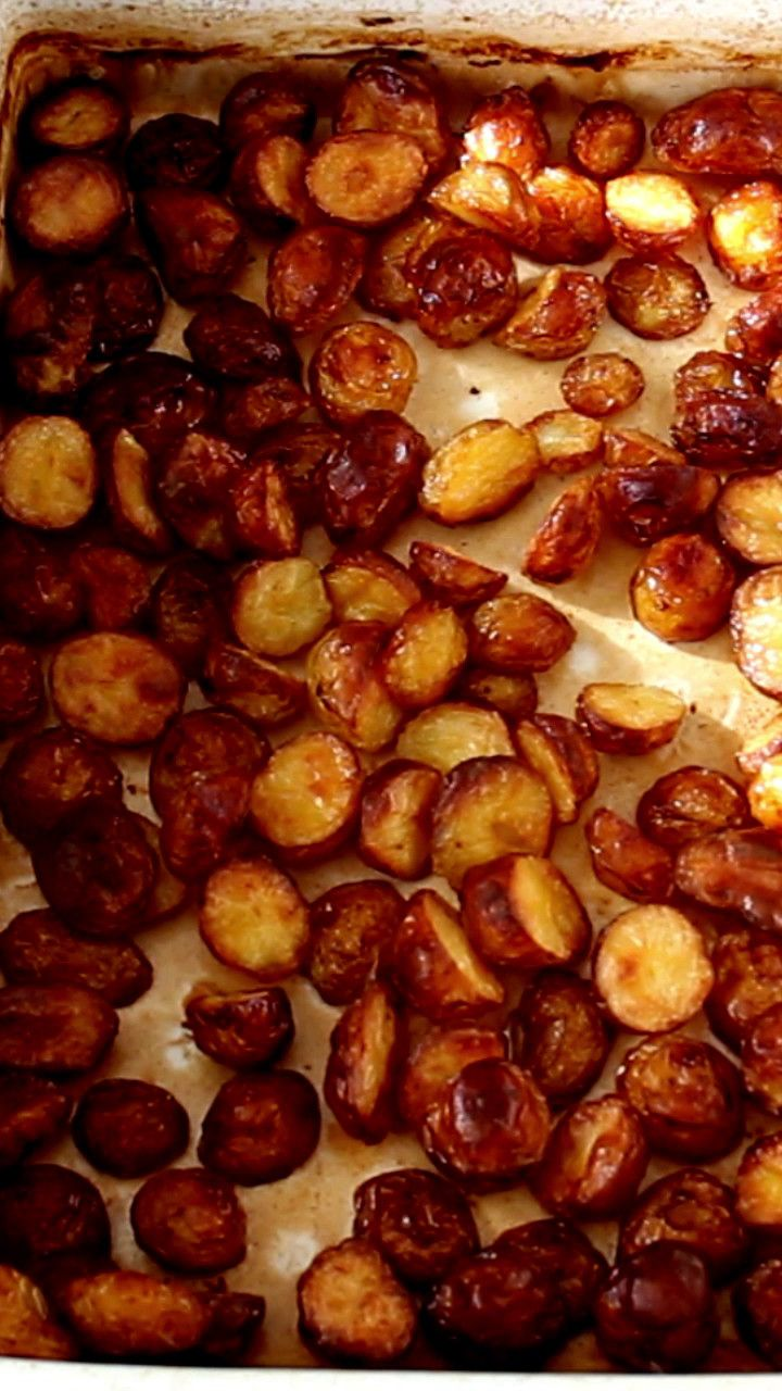 Recipe with video instructions: Like PBn'J, like Bread n' Butter these Salt n' Vinegar Roasted Potatoes are our take on a perfect food combo.  Ingredients: 1 small bag of mini potatoes, 1/3 cup olive oil, 1/4 cup white vinegar, hot water, coarse sea salt, 2 green onions finely sliced