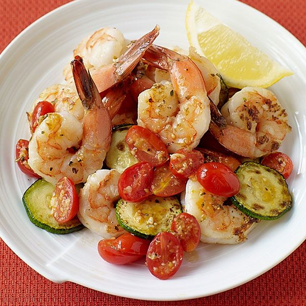 Weight Watchers Sautéed Shrimp with Zucchini and Tomatoes: 4 Points+