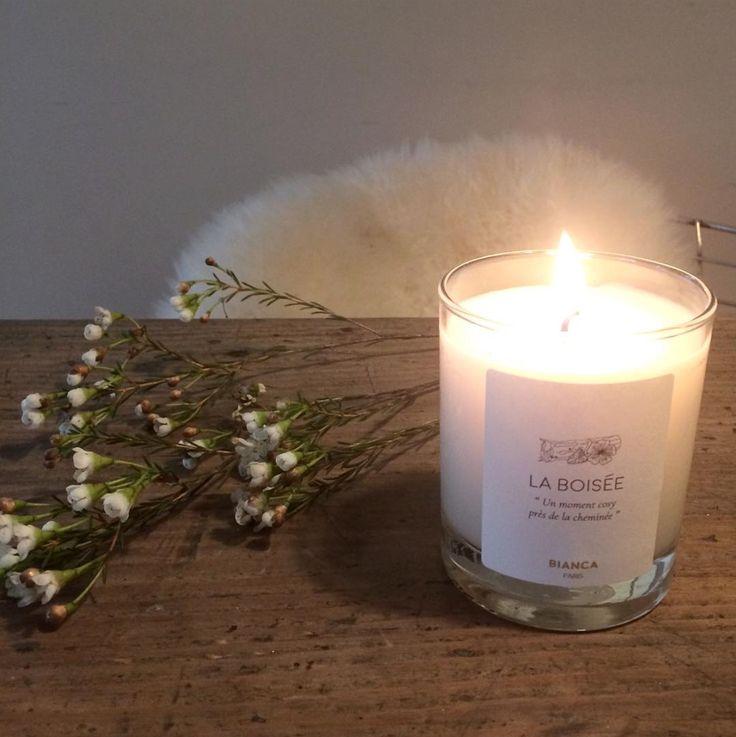 La Boisée Bougie Bianca Paris Lueur Lumière Candle Scented candle Cosy Hygge Bougie blanche verre transparent Soirée