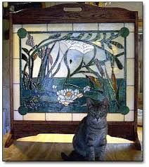 Image result for stained glass fireplace screen