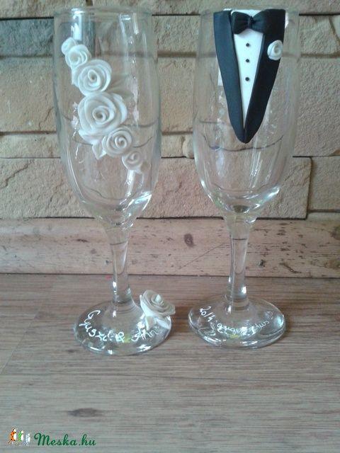 Gyöngyház esküvői pohár pár, Esküvő, Nászajándék, Esküvői dekoráció, Meska