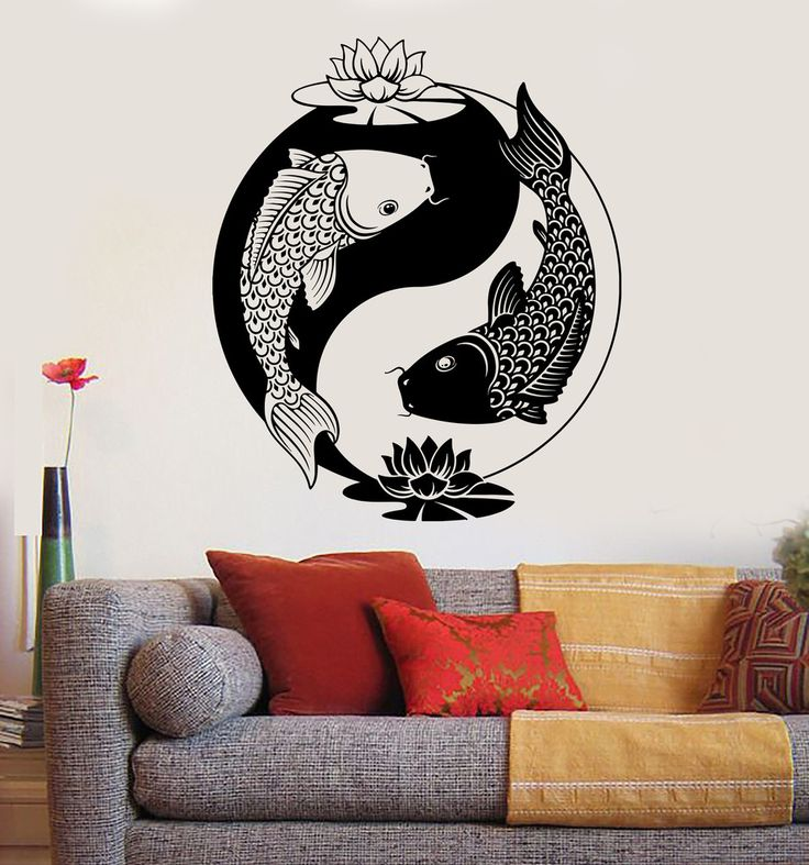 Vinyl wall decal yin yang tai lotus chinese philosophy zen for Koi fish wall stickers