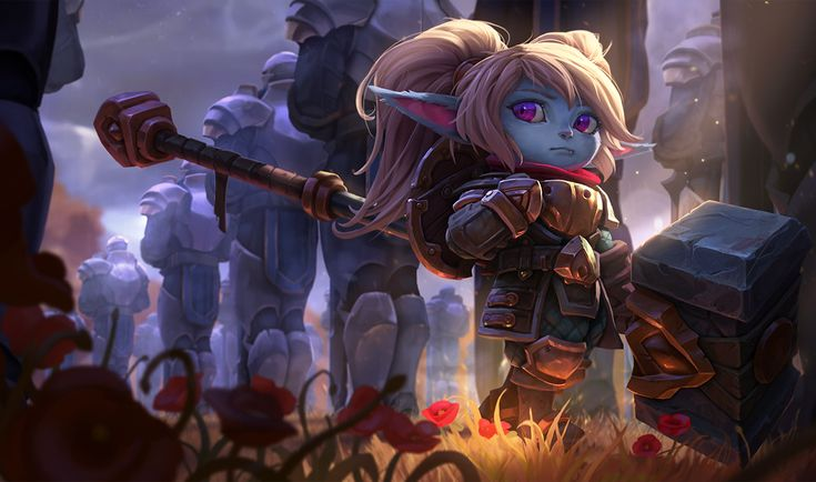 Poppy | League of Legends Runeterra has no shortage of valiant champions, but few are as tenacious as Poppy. Bearing a hammer twice the length of her body, this determined yordle has spent untold years searching for the ''Hero of Demacia,'' a fabled warrior said to be the rightful wielder of her weapon.