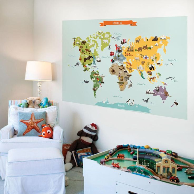 Educational yet fun World Map for kids! Our Children's World Map is a peel and stick colorful wall poster that is easy to install and a big hit with the little