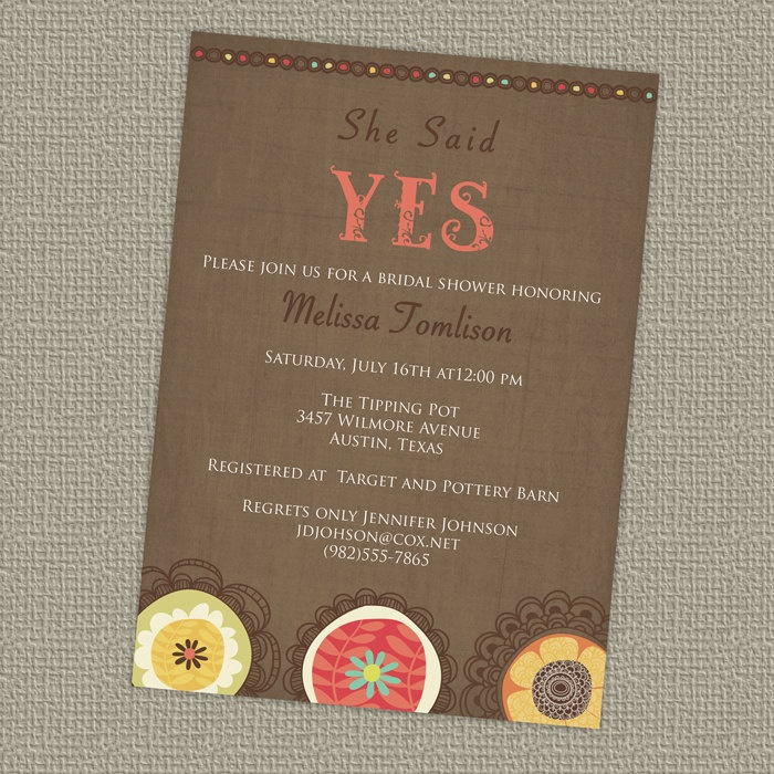 YES Bridal Shower Invitation floral vintage bridal
