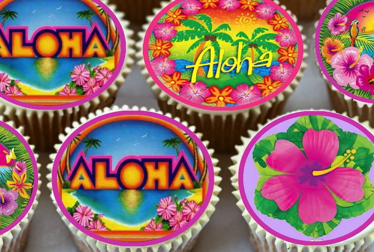 24 x HAWAII HAWAIIAN ALOHA LUAU THEMED EDIBLE CUP CAKE TOPPERS RICE PAPER