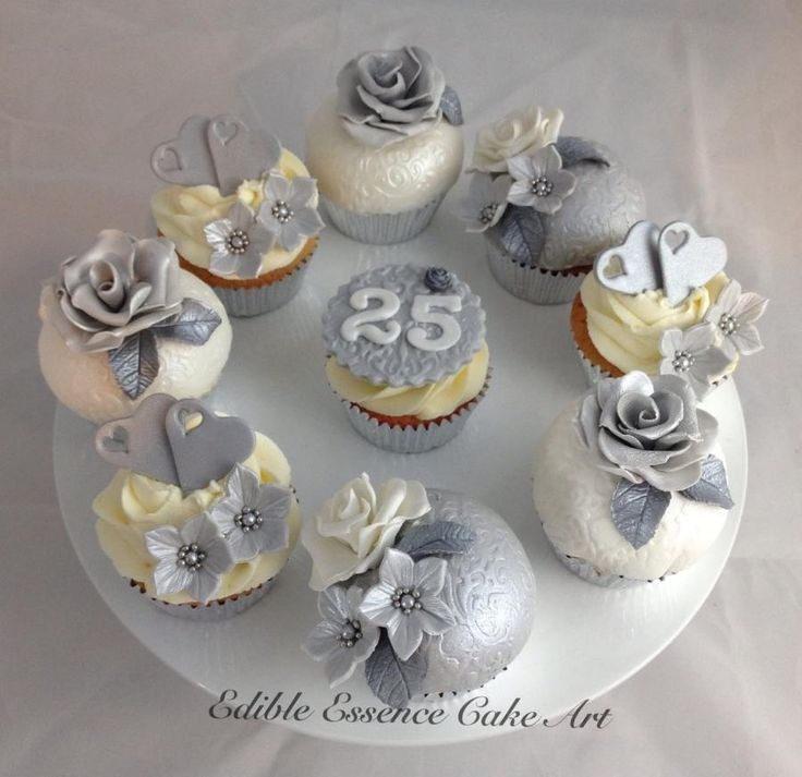 Silver wedding anniversary cupcakes - Cake by Edible Essence Cake Art