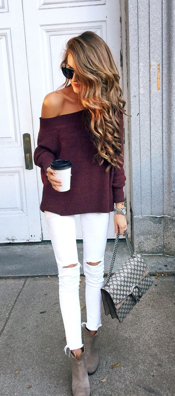 Like color and length of this sweater.  Not the off the shoulder.